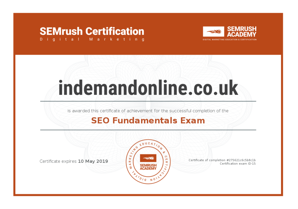 Image of Web Designer Certificate of Competency in SEO Fundamentals