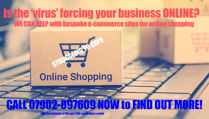 Online shopping packages and a keyboard for e-commerce sites